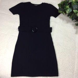 Betsey Johnson Black Cap Sleeve Sweater Dress Sz L